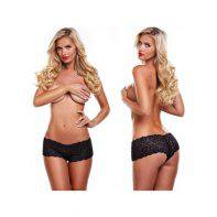 Black lace girls boxers with bullet