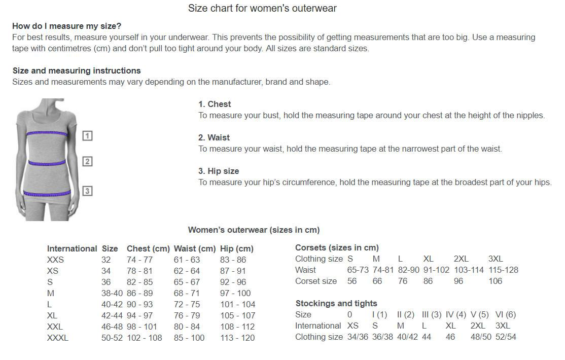 Size Chart Womens Outerwear