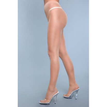 Everyday Wear Crotchless Pantyhose - Beige-3