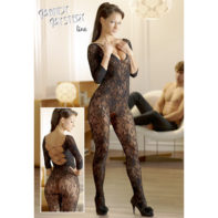 Catsuit made of black floral lace-Mandy mystery Line